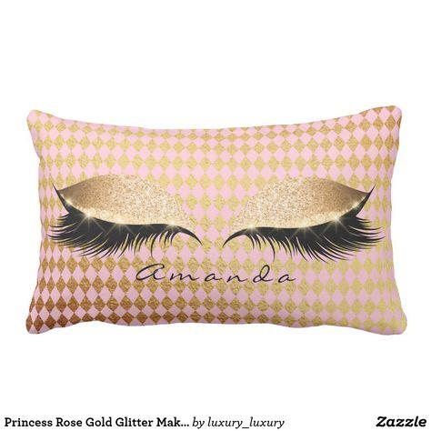 Princess Rose Gold Glitter Makeup Name Diamond Cut Lumbar Pillow