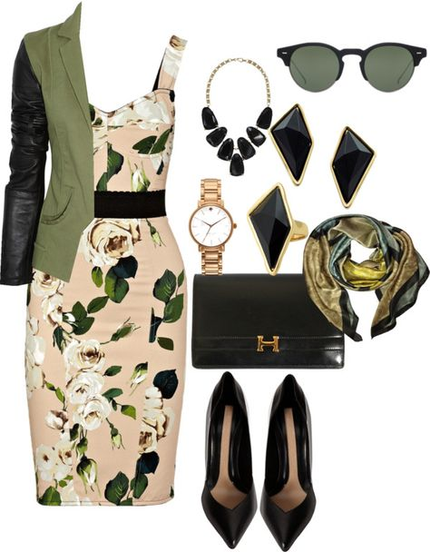 A fashion look from January 2013 featuring floral dresses, olive jacket and pointy-toe pumps.