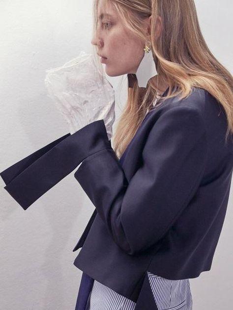 Wool-silk Zip Jacket Black