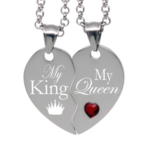 3c3244f437 His Her Split Heart Necklace - My King / My Queen Free Engraving Customized  Gift