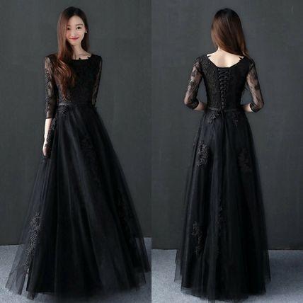ドレス ロング 七分袖黒ロングパーティードレス ブラック 結婚式フォーマル ロングドレス パーティードレス ドレス