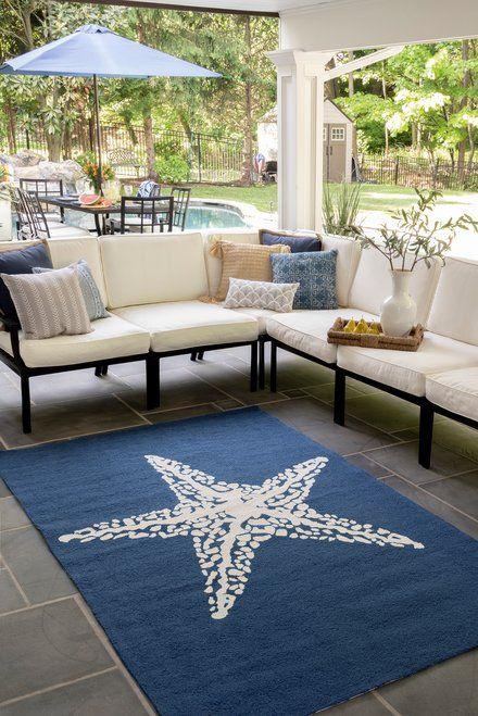 Hacienda Starfish Indoor Outdoor Navy Rug Indoor Outdoor Area Rugs Indoor Outdoor Indoor Outdoor Rugs