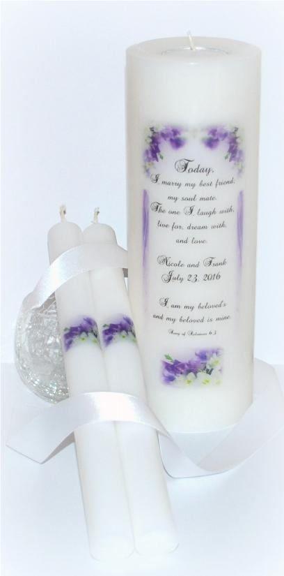 Wedding Unity Candle Sets Personalized Purple And White Wedding