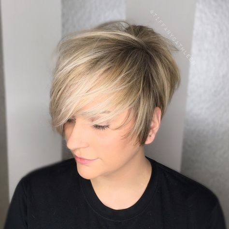 Gorgeous blonde balayage on a textured pixie cut