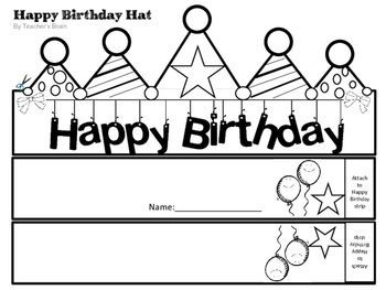Happy Birthday Hat Editable Pencil Toppers Certificate