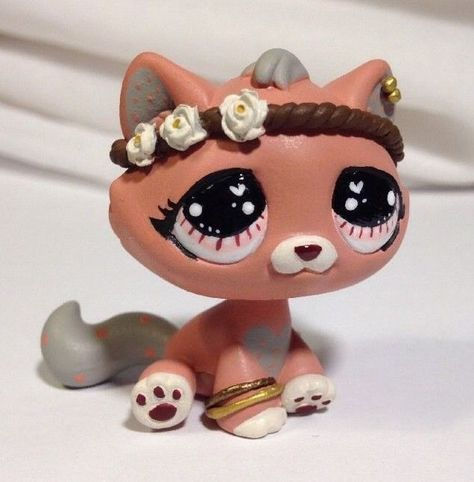 Littlest pet shop Cat * Pretty Pink Kitty * Custom Hand Painted LPS OOAK #Hasbro