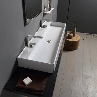 Teorema Ceramic Rectangular Vessel Bathroom Sink Wall Mounted Bathroom Sinks Bathroom Design Bathroom Sink