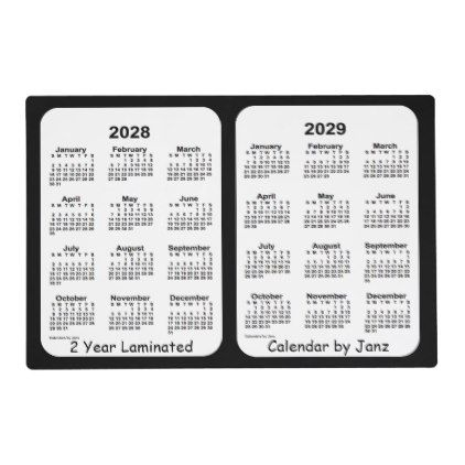 2028 2029 Black Neon Laminated Calendar By Janz Placemat Zazzle