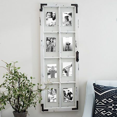 Distressed Wood And Metal Windowpane Collage Frame Collage Frames How To Distress Wood Art Collage Wall