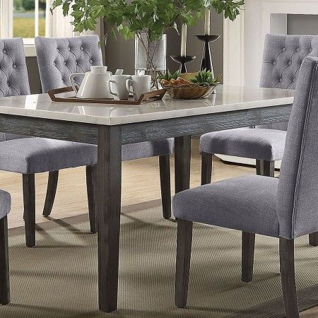 Orsina Silver Extendable Dining Table Dining Table Marble