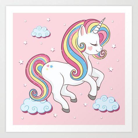 Rainbow Unicorn Illustration Art Print By Senay Kurtulus X