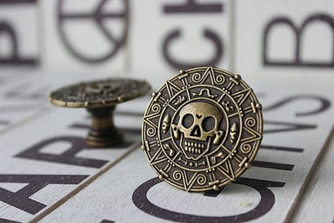 Pirate Drawer Knobs with Skull in Brass MK129 by DaRosa on Etsy, $7.00