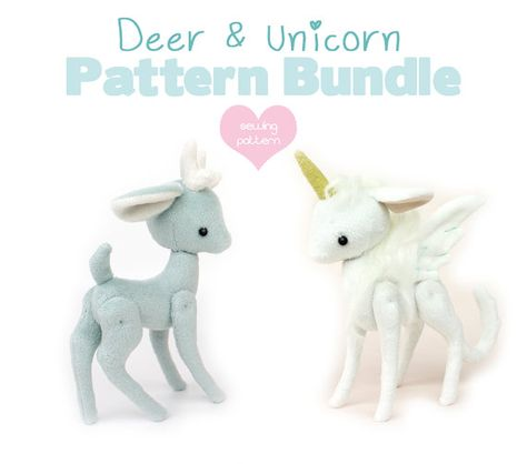 PDF sewing pattern bundle - Deer Reindeer Unicorn Pegasus stuffed animal with VIDEO tutorials - 2 sizes 5