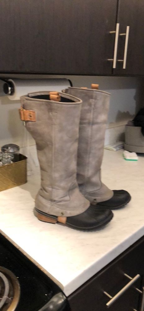 fd7f012f04e RARE SOREL SLIMPACK TALL Boots Women 9 Charcoal Gray Snow Rain ...
