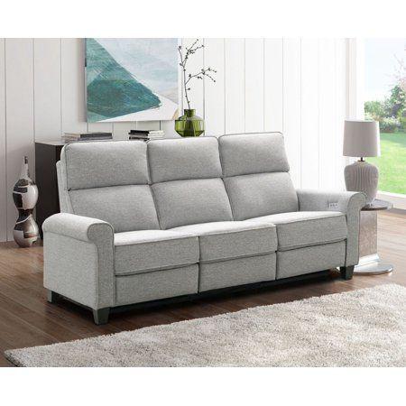 Abbyson Bristol Power Fabric Reclining Sofa Gray Walmart Com Reclining Sofa Power Reclining Sofa Sofa