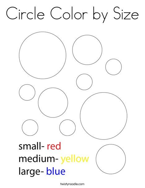 Circle Color By Size Coloring Page Twisty Noodle Coloring Pages Shape Coloring Pages Cool Coloring Pages