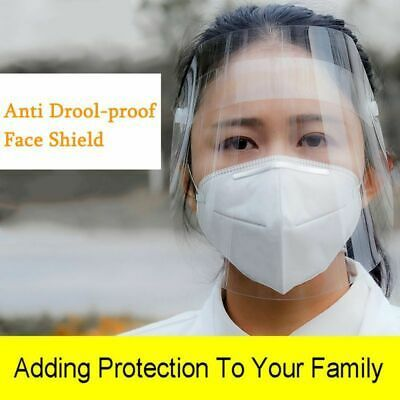 10PCS Safety Face Shield Reusable Plastic Face Shield Full Face Transparent Windproof Dustproof Hat Shield With Protective Clear Film Elastic Band