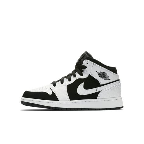 25cddd632d8 Air Jordan 1 Mid Big Kids' Shoe Size 6.5Y (White)