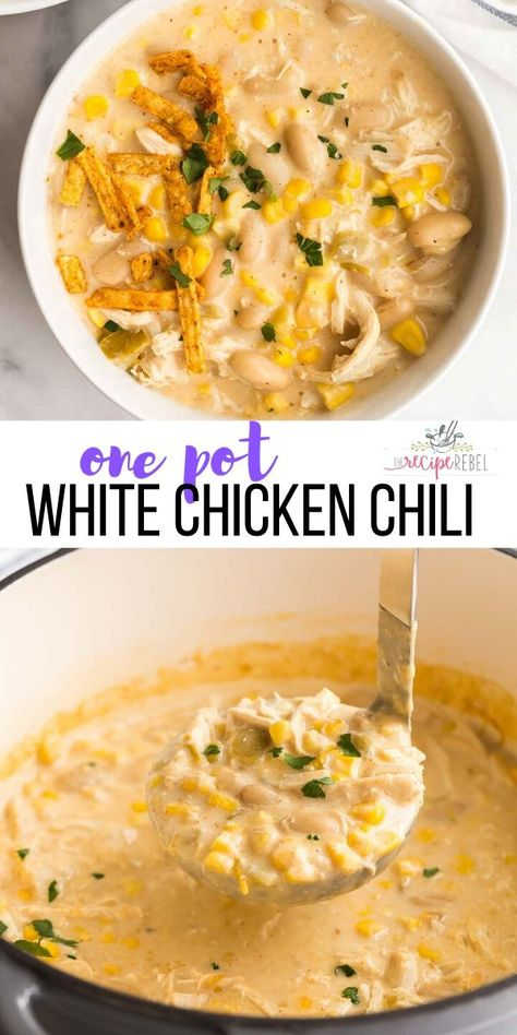 This White Chicken Chili is ultra thick and creamy with shredded chicken white beans and corn and just the right amount of spice! Make ahead and freezer friendly perfect for pantry cooking. Creamy White Chicken Chili, Crockpot White Chicken Chili, Cream Cheese Chicken Chili, Stewed Chicken, Chicken Tortilla Soup, Orange Chicken, Rotisserie Chicken, Comfort Food, Easy Chicken Recipes