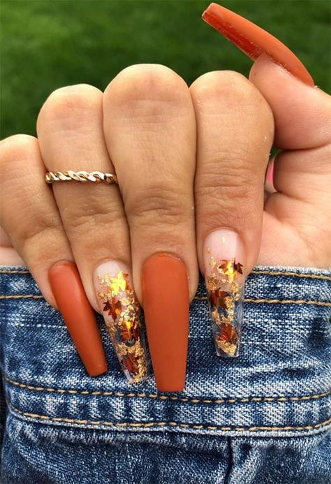 39 Trendy Fall Nails Art Designs Ideas To Look Autumnal and Charming autumn nail art ideas fall nail art fall art designs autumn nail colors autumn nail ideas dark nail designs coffin nails Cute Acrylic Nail Designs, Fall Nail Art Designs, Nails Design Autumn, Coffin Nail Designs, Dope Nail Designs, Chrome Nails Designs, Orange Nail Designs, Fall Designs, Coffin Shape Nails