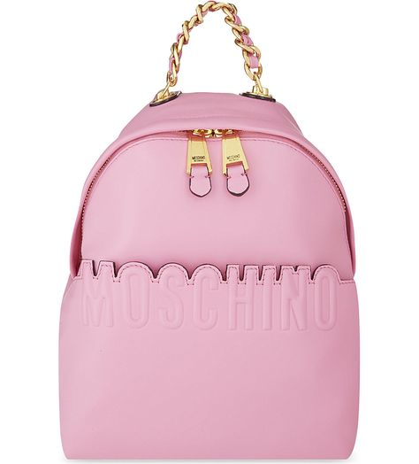 MOSCHINO - Leather logo backpack