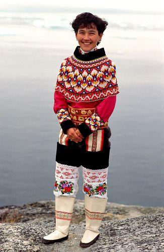 Laila Tobiassen in traditional beaded West Greenlandic costume. Ilulissat, Greenland