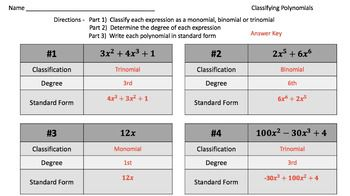 Classifying Polynomials Practice Problems Video Tutorials