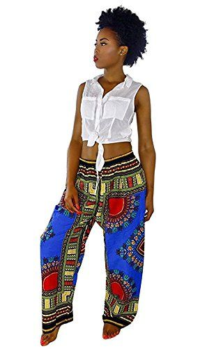 Loose Fit FREE SHIPPING KENTHE African Print Wide leg pants with draw string waist