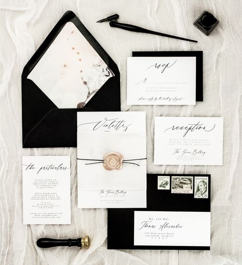 This gorgeous yet simple wedding invitation set features a classic font and calligraphy with a coordinating marbled envelope liner in shades of blush, gray, black and white.     wedding invitation suite, wedding invites, wedding invitations, classic, simple, elegant, romantic, vintage, modern, calligraphy, lined envelope, destination, black and white, minimalist