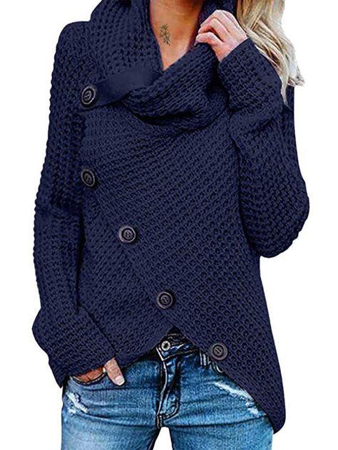 Shop FNKDOR Women Plus Size Costume Casual Long Sleeve Pile Collar Button Sweater Pullover Irregular Hem Asymmetry Sweatshirt Tops Jumper. Wrap Sweater, Sweater Coats, Black Sweaters, Long Sleeve Sweater, Pullover Sweaters, Women's Sweaters, Winter Sweaters, Knit Cardigan, Loose Sweater