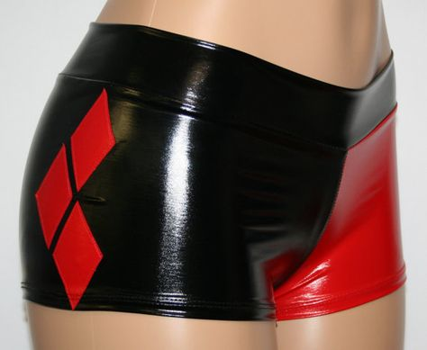Stretch Vinyl by DillyDuds - Harley Quinn Cosplay Booty Shorts Mid Rise with a Waistband 3 Diamonds on Side and 1 Star on Booty Red and Black Stretch Vinyl--Vinyl is meant to fit