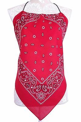 52a536bf3d935e Bandana Halter Top Shirt - Red Navy Blue and Black - Womens Clothing - New