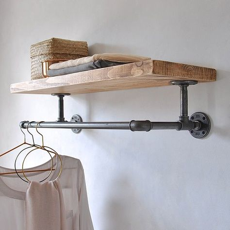 Are you interested in our industrial wooden storage shelf? With our steel pipe clothes rail you need look no further. Are you interested in our industrial wooden storage shelf? With our steel pipe clothes rail you need look no further. Laundry Room Diy, Room Remodeling, Wooden Storage Shelves, Room Diy, Clothes Shelves, Shelves, Wooden Storage, Farmhouse Laundry Room, Home Decor