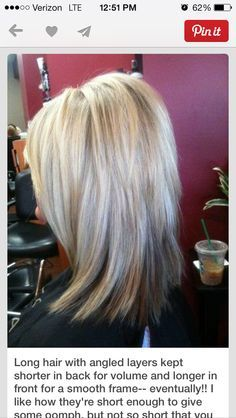 I love this style. The idea of shorter layers in the back for volume really appeals to me! Medium length hair. Lots of layers. Teased