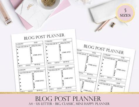 Blog Post Planner, Article Planner, Business Posts Plan, Marketing And Social Media Printable Planner