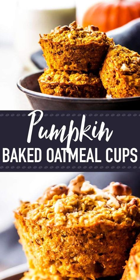 baked pumpkin oatmeal cups are a surefire way to get a nutritious breakfast into your kids on those crisp and chilly school mornings during fall. You can make them ahead and stash them in your freezer for easy meal prep. They're perfect to fuel up f Pumpkin Oatmeal Muffins, Baked Oatmeal Cups, Pumpkin Breakfast, Pumpkin Dessert, Healthy Pumpkin Muffins, Healthy Pumpkin Recipes, Oatmeal Breakfast Bars, Vegan Pumpkin, Recipes With Canned Pumpkin