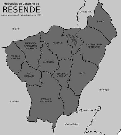 Mapa Com As Freguesias Do Concelho De Resende Portugal