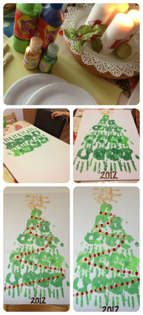 Family Hand Print Christmas Tree Canvas With Images Christmas Tree Canvas Christmas Tree Painting Christmas Tree Decorations For Kids