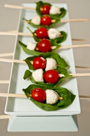 Caprese Salad Bites...I love throwing these together for potlucks, with a little Olive Oil, Fresh Lemon, Garlic & Sea Salt dressing on the side!