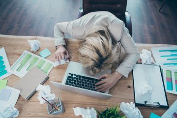 High Angle Above View Photo Of Business Lady Head Lying On Desk Listen Online Report Crumple Papers Awful Corporate Situat In 2020 Business Women Workplace View Photos