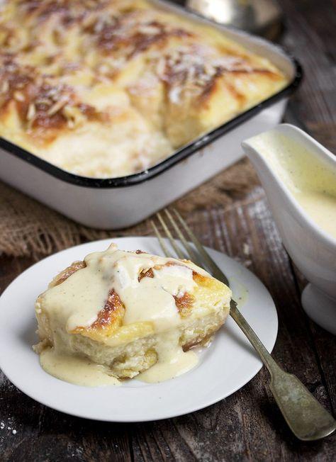 Rhubarb Bread Pudding with Creme Anglaise
