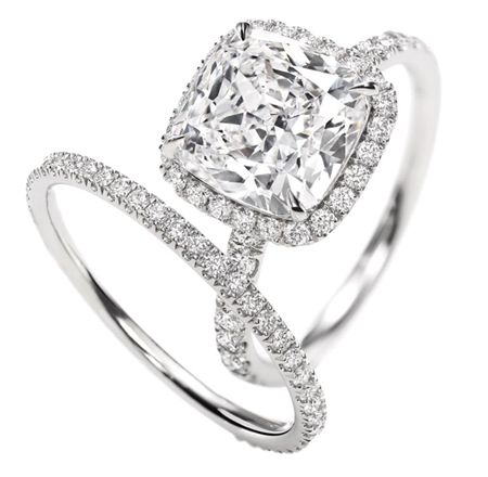 HARRY WINSTON ENGAGEMENT RING - Micropavé Ring, Cushion-cut Cushion-cut micropavé diamond engagement ring, featured here in 3.03 carats; platinum setting. O YEA THIS IS HAPPENING LOL :)