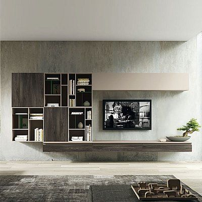 Tv Unit Composition Evoke By Siluetto Features 4 Wall Mounted Units And Bookcase Contemporary Tv Units Modern Tv Stand Living Rooms Tv Media Unit