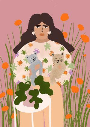 Cat Mom - Art Print — Alja Horvat | Art prints, Mom art, Framed art prints