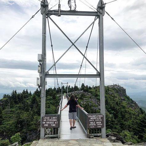 William and Lorelei start to cross the Mile High Swinging  #Bridge on #grandfather