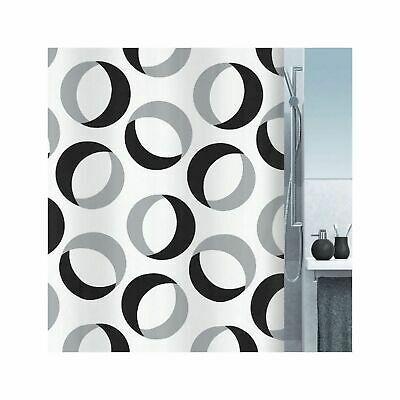 Advertisement Spirella Rings Grey Black Textile Shower Curtain