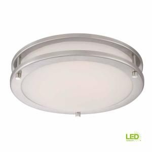 Home Decorators Collection 3 Light Brushed Nickel Flush Mount With Etched White Glass 23956 Bathroom Fan Light Glass Shades Led Ceiling Light Fixtures