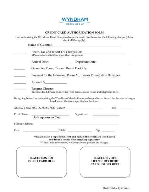 33 Credit Card Authorization Form Template Hotel Credit Cards