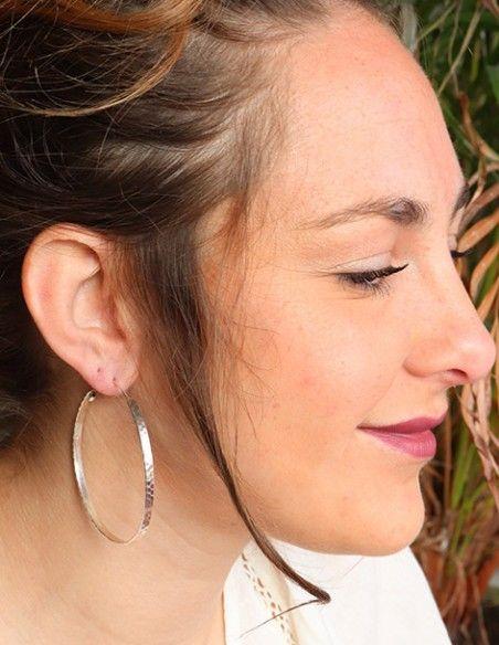 Boucles d/'oreilles plaqué Argent ciselées motif Goutte d/'eau