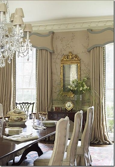 Love The Cornices And Drapes Look The Chair Slips Too Formaldiningroomideas Dining Room Curtains Dining Room Windows Elegant Dining Room